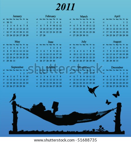 2011 calendar with woman reading in a hammock