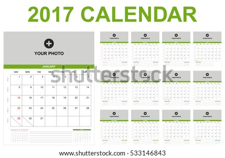 2017 Calendar Year Set Weekly Number Stock Vector 533146843 ...