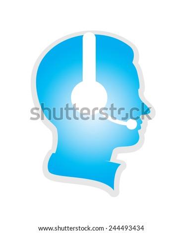 call center icon executive on white background - stock vector