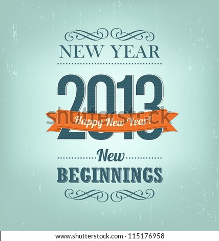 2013 - calligraphic new year greeting design - stock vector