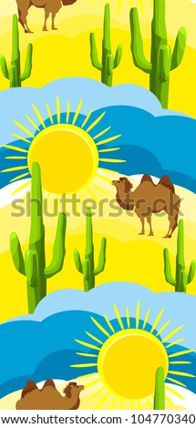 Camel is on the hot desert sun brightened grow cactus