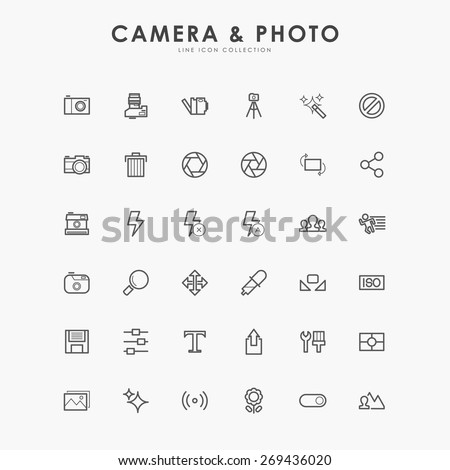 36 camera and photo minimal line icons - stock vector