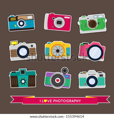 Camera stickers Set - Flat Style - stock vector