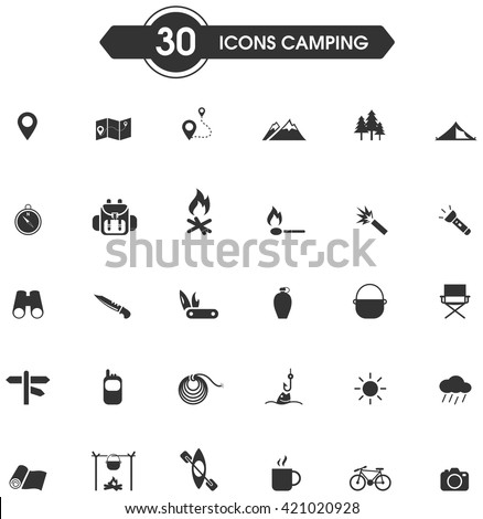 30 camping and outdoor nature leisure activity silhouette sign and symbol icon set. Vector