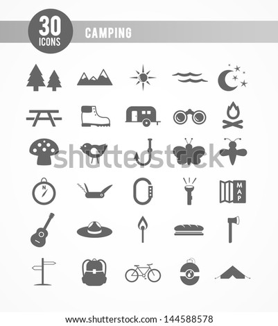 30 camping icons - stock vector
