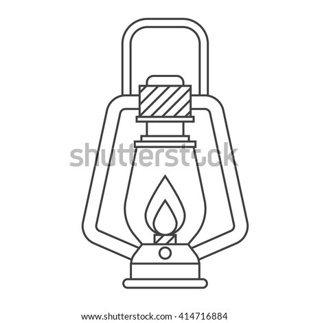 Camping lantern vector outline icon. Single tourist lamp in thin line design isolated on white background. Hiking light lineart pictogram for website and internet. - stock vector