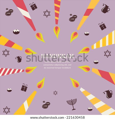 8 candles for eight days of Jewish holiday Hanikkah infographics - stock vector