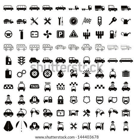 100 car and transport icons, black and white vector set. - stock vector