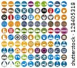 100 car and transport icons, color vector set. - stock vector