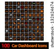 100 Car Dashboard Icons. Vector illustration. - stock vector