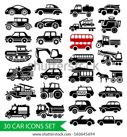30 car icons set, black auto web pictogram collection - stock vector