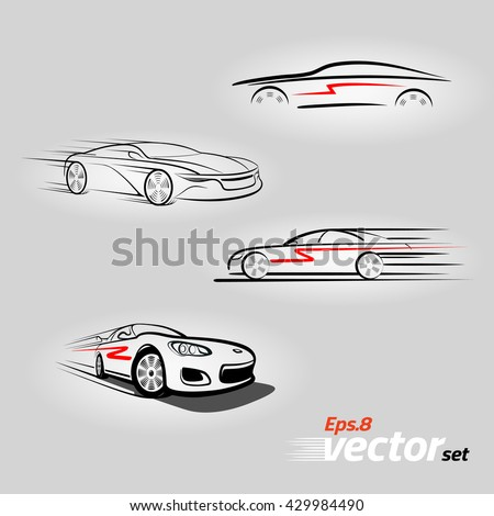 Car logo design. Car in the form of lines of silhouette, in movement. Set.eps 8 - stock vector