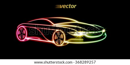 Car logo design. Car in the form of the luminous lines silhouette. eps10.