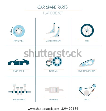 9 car parts flat icons 2 of 2 sets  with orange, blue and light grey fill - stock vector