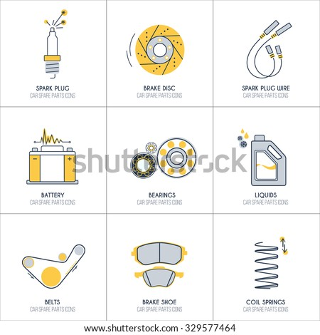 9 car parts line icons with orange and grey fill 1 of 2 set  - stock vector