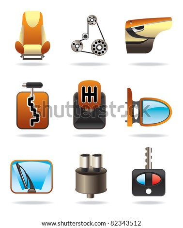 car parts set - vector illustration - stock vector