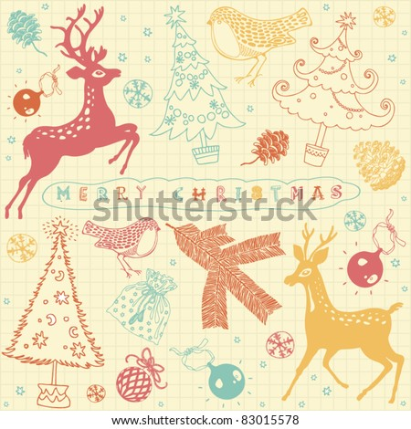 card with Christmas deer - stock vector