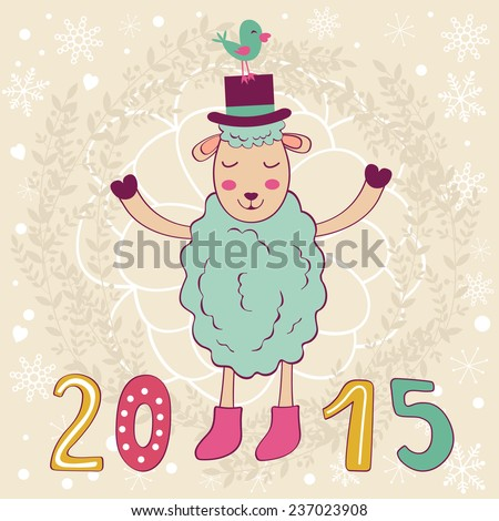 2015 card with happy sheep and bird. Vector illustration - stock vector