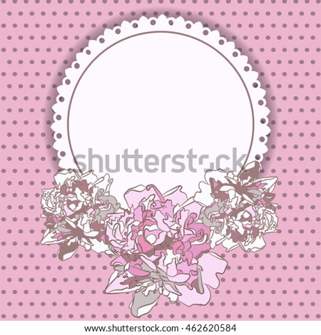 Card with pink peonies on the background in a polka dot.Can be used as greeting card, invitation card for wedding, birthday and other holiday.
