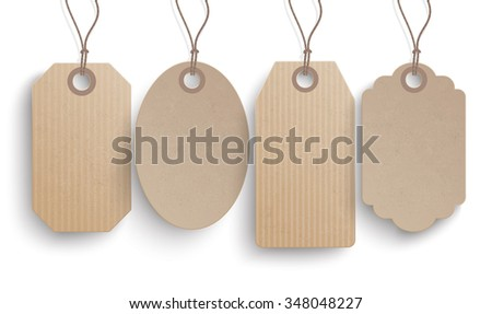 4 cardboard hanging price stickers on a white background.  Eps 10 vector file.