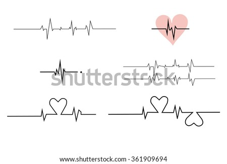 Cardiogram on white background,Cardiogram of love - stock vector