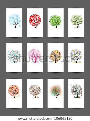 12 cards with trees design. Season holiday - stock vector