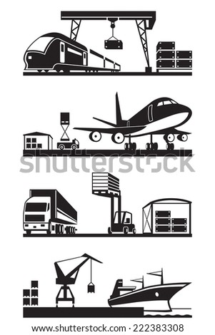 Cargo terminals in perspective - vector illustration - stock vector