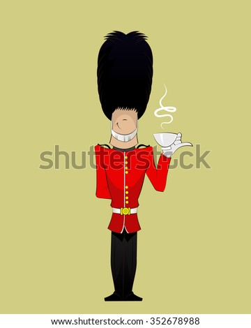 Cartoon British Royal Soldier with cup of black tea . Vector fun character illustration of English traditional guardian - stock vector