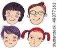 4 cartoon faces - stock vector