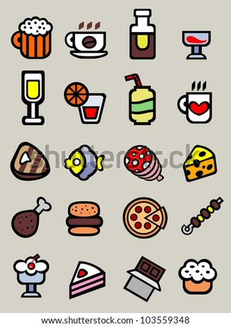20 cartoon food and drink icons on grey background - stock vector