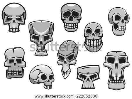 Cartoon human scary Halloween skulls for holiday design - stock vector