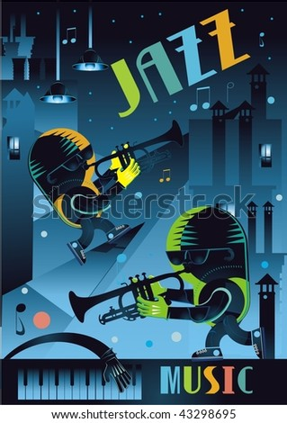 cartoon jazz players on the roof music background vector illustration - stock vector