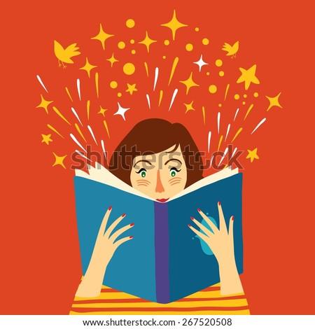 Cartoon lady reading big book. Vector illustration. - stock vector