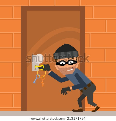 cartoon thief tries to break down the door. vector illustration in a flat style. - stock vector