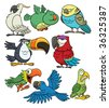 8 cartoon tropical birds. All in separate layers for easy editing. - stock vector