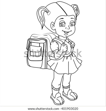 Cartoon vector Illustration. Cute  girl with a satchel and his arm walking to school. Isolated. Black.
