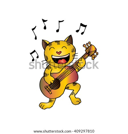 cat playing a guitar