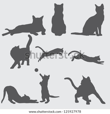 9 cat silhouettes - stock vector