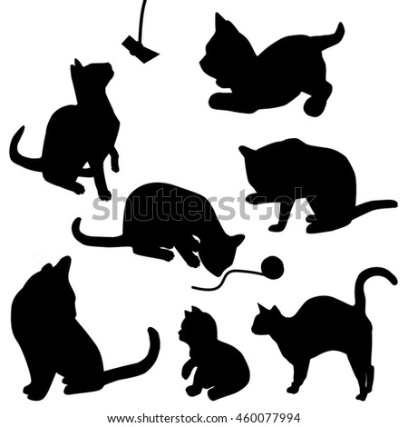 Cats black on white background
