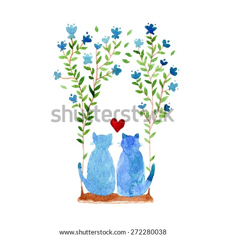 2 cats sit on a swing. Cat background. watercolor card template. Flower backdrop. illustration with kittens and flowers. Bouquet of bindweed. love you. wedding invitation - stock vector