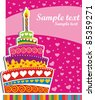 Celebration background with Birthday cake and place for your text. vector illustration - stock vector