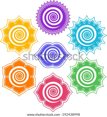 7 Chakras - Energy Centers  - stock vector