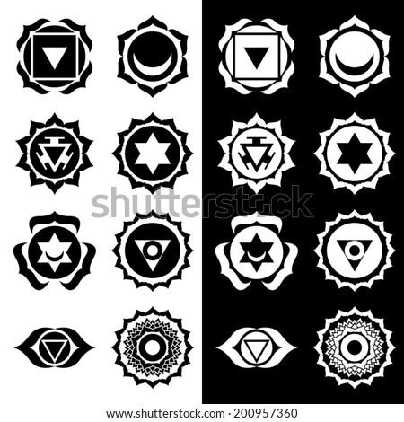 Heart chakra symbol black and white