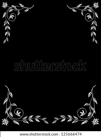 Chalk Board Flower Border - stock vector