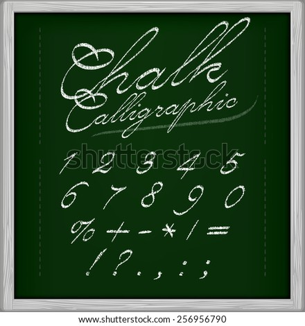 Chalk Calligraphic font on chalk board. Part 3/3 Numbers and symbols - stock vector