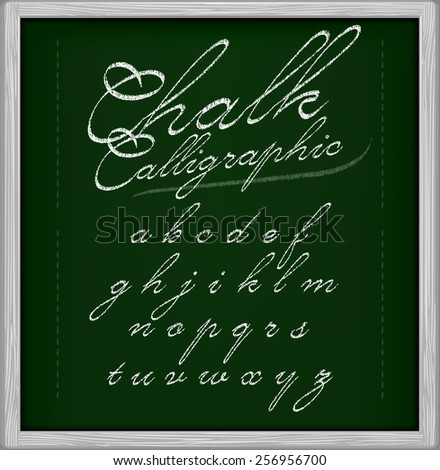Chalk Calligraphic font on chalk board. Part 2/3 small letters - stock vector