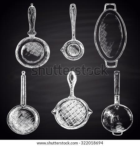 Kitchen Tools Chalk Stock Images RoyaltyFree Images Vectors