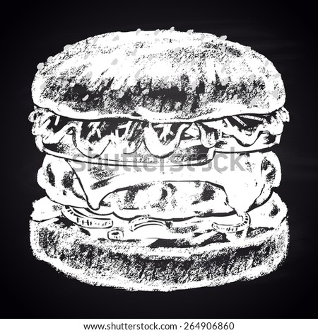 Chalk painted classic cheeseburger. - stock vector