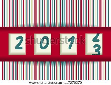 2012-2013 change, red vector illustration - stock vector