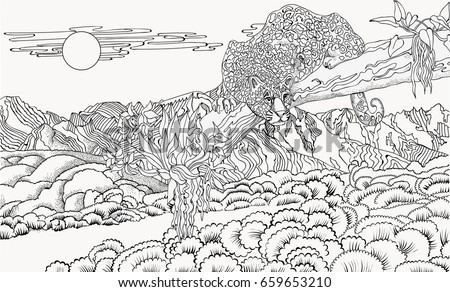 coloring pages japanese woman on background stock vector 478380667 ... - Mountain Landscape Coloring Pages